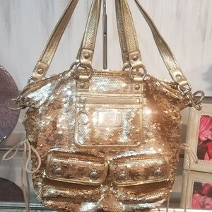 HARD TO FIND Coach Poppy Gold Sequined Spotlight